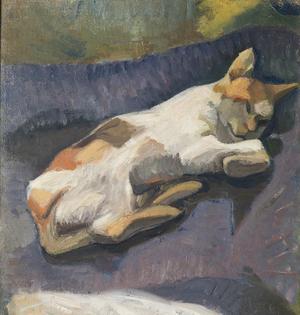 Ivan Aguélis porträtt på sin katt Mabrouka målat i Kairo  under 1890-talet. Foto: Aguélimuseet