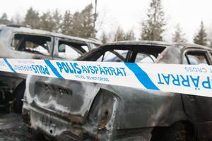 Utbrända bilar i Andersberg.