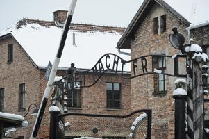 Arbeit Macht Frei-skylten i det nazistiska koncentrationslägret Auschwitz.