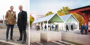 Tomas Eriksson (MP) och Kristoffer Tamsons (M) på platsen för den nya vänthallen vid stationen i Södertälje. Illustration: Marge arkitekter