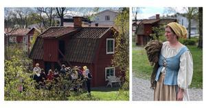Tillsammans med skolklasser har stadsvandringen provkörts under våren.  Guide på bilden heter Johanna Ericsson. Foto: Emilia Ekeblad
