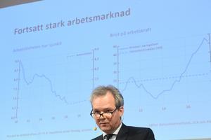 Vice riksbankschefen Per Jansson presenterade på onsdagens det senaste räntebeskedet. Bild: Fredrik Sandberg/TT