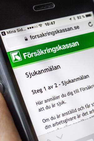 STOCKHOLM  20170202Försäkringskassans app, sjukanmälan via mobiltelefonFoto: Claudio Bresciani / TT / Kod 10090