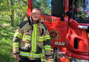 Rolf Björk var på brandplatsen med sina mannar på tisdagsmorgonen för efterkontroll.
