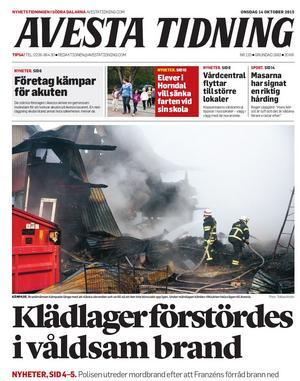 Faksimil från Avesta Tidning den 14 oktober 2015, då Franzéns klädlager förstördes i en storbrand.