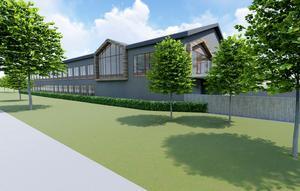 Huvudbyggnaden blir i två plan - sammanlagt 2 000 kvadratmeter. Illustration: Falugruppen
