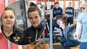 Efter bojkotten så tränar nu Damkronorna igen. På måndagen samlades spelarna i Falun för ett veckolångt läger. I den infällda bilden syns Hanna Sköld, Leksand, och Emma Murén, Brynäs.