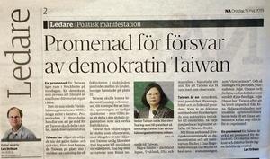 Lars Strömans ledare i NA onsdagen 15 maj. Temat för texten är Taiwans rätt att delta som observatör vid WHO:s möte i Genéve nästa vecka. En