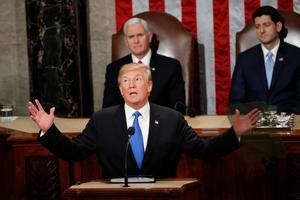 President Trump beskriver tillståndet i unionen.Foto: Pablo Martinez/AP