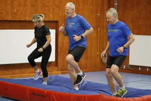 Karin Lantz, Anders Johansson och Östen Hansson kämpar på med joggning på gymnastikmattan.