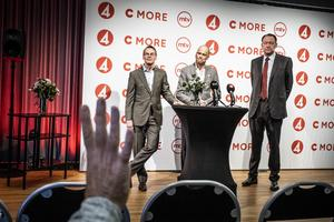 Det är klart att Telia köper Bonnier Broadcasting, där TV4 och C More ingår. Det presenterades av Telias tf vd Christian Luiga och Bonnier Broadcastings vd Casten Almqvist. Till höger Erik Haegerstrand, vd Bonnier Group. Foto: Magnus Hjalmarson Neideman / SvD / TT.