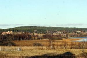 Det skogsklädda Månberget ligger i blickfånget över de öppna åkermarkerna i Jättendal.
