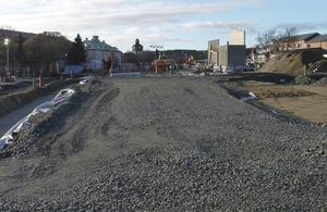 Fredag den 21 februari: Här har man också kommit en bra bit på väg med nya Järnvägsgatan.
