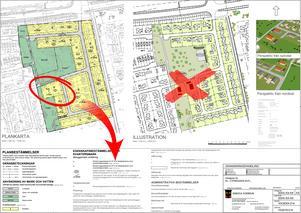 Detaljplanen för Flädern 1 vid Violinvägen. Kommunens tjänstemän framhåller att det aktuella bygglovet följer detaljplanen.