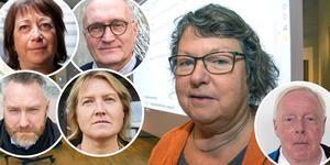 Eva Hellstrand (C) i mitten, omgiven av Karin Thomasson (MP), Lars-Erik Olofsson (KD), Tom Silverklo (C), Elise Ryder Wikén (M) och Lennart Ledin (L) längst till höger.