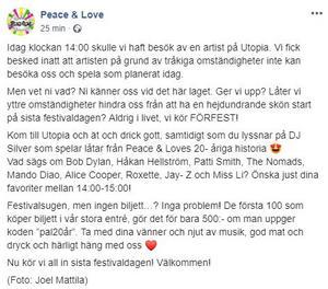 Inlägget på Peace & Loves facebooksida.