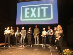 Pressbild på vinnarna i filmfestivalen Exit.