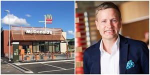 Nykvarn är med sitt spännande läge vid E20 en del av McDonalds expansion, säger Henrik Nerell. Bilden visar ungefär hur restaurangen ska se ut. Bild: McDonalds