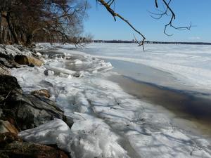 Isen har börjat brytas sönder och det har bildats vattensamlingar vid Lögarängens strandkant. Bilden togs på torsdagen.Foto: Rolf Ericson