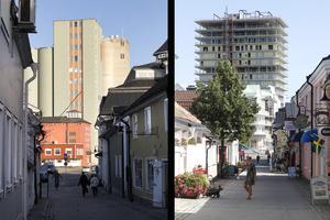 Vy från Sjötullsgatan år 2013 och augusti 2018.