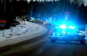 Efter olyckan blev det långa köer längs med vägen.