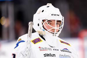 Matteus Ward från Linköping är inlånad från östgötarnas J20-lag inför matchen mot Modo. Foto: Carl Sandin/Bildbyrån.