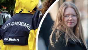 Olivia Gustafsson, ordförande i Kvinno- och tjejjouren Pax i Nynäshamn, berättar att tjejjouren tar över nattvandringen.