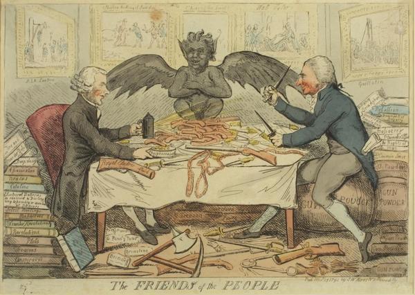 Bakom Thomas Paines ädla ideal vilar våld, förtryck och förstörelse. Den skotske satirikern Isaac Cruikshanks karikatyrbild