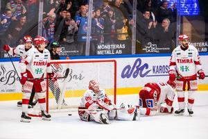 Timrå IK lyckades in dra ifrån Oskarshamn på tisdagen, i stället kvitterade smålänningarna i matchserien. Bild: Suvad Mrkonjic/Bildbyrån
