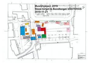 SVT:s ritning över Musikhjälpen i Västerås.
