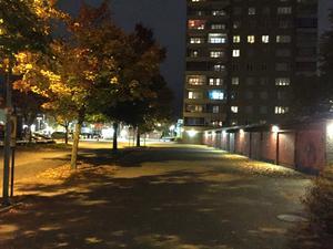 Utanför hyreshuset på Skiljebo är det mörkt. Flera hyresgäster krävde mer ljus för att skapa mer trygghet.