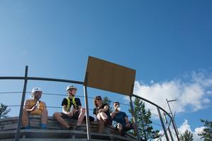 Keith Bryant, Alexander McDonald-Larsson, Morag McDonald och Jonas Larsson på tur i Skule.