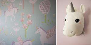 I Ellies sovrum är det enhörningar som gäller både på tapeterna och som trofé på väggen.