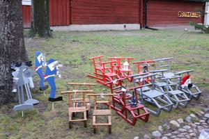 Fina små sparkar som dekoration såldes vid ett av stånden.