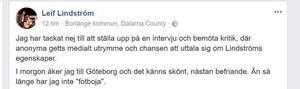 Andra gången DT frågar om kommentarer på kritiken gör Leif Lindström ett nytt inlägg på Facebook.