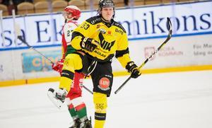 Anthon Eriksson i Västerås jublar efter sitt 1–3-mål.