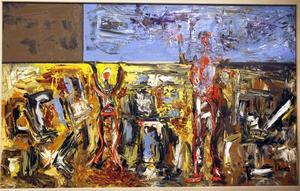 Igor Knez i sin utställning på galleri Majoo där han visar oljor på temat dagar och tid.