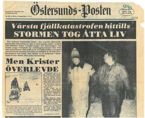 Måndagen 27 februari 1978 möttes ÖP:s läsare av den fasansfulla nyheten om åtta döda på fjället.
