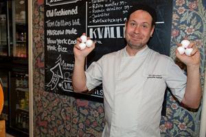 Krögaren Kristoffer Ryhnell använder mycket ägg i sin matlagning.