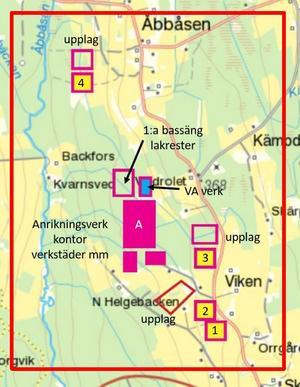 Cirka tre kilometer är det mellan Orrgården längst ned i högra hörnet och Åbbåsen i norr. Fyra dagbrott planeras för vanadinbrytning. Stora röda rutorna i mitten är anrikningsverk, kontor lakvattenbassäng etc. Illustration: EU Energy corp.