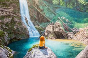 Tavlan, som föreställer henne själv vid Brienzsjön i Schweiz är målad efter ett foto som hennes syster har tagit. Den är 130 gånger 85 centimeter stor och ritat efter en referensbild som hon delat upp i sex rutor. Grunden är i akryl, därefter olja.