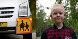 Max går på Solbergaskolan i Torsåker. Men skoltaxin  körde mot Gävle och vände inte fast Max sa till.