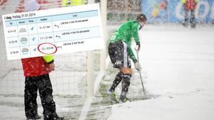 En bild från norska högstaligan 2012 – och lika mycket snö kan det bli på Behrn arena i kväll, enligt yr.no:s prognos som förutspår uppåt fem centimeter snö under matchen.