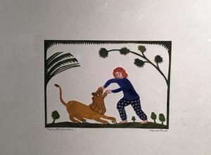"""""""Lejontämjerskan"""" – en av flera bilder där konstnären själv figurerar."""