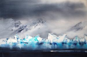 Glaciärernas vithet blandas upp med turkost, svart och grått.