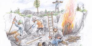 Finska svedjebönder svedjade jorden vid Långforsen och upptäckte glimmande silvermalm som man absolut ville hemlighålla. Sala på finska betyder dölja/hemlighålla. Teckning av Bo Svärd