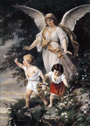 En ängel vakar över två barn. Målning av Bernhard Plockhorst.