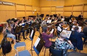 Blåsarelever från Sundsvalls Kulturskola och deras lärare repeterar för en samkonsert med Sundsvalls Orkesterförening.