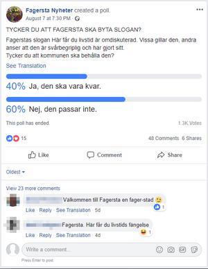Skärmdump på omröstningen i Facebook-gruppen
