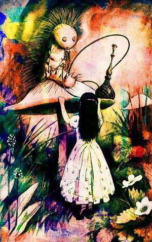 Alice i dialog med larven. Bild: Public domain pictures